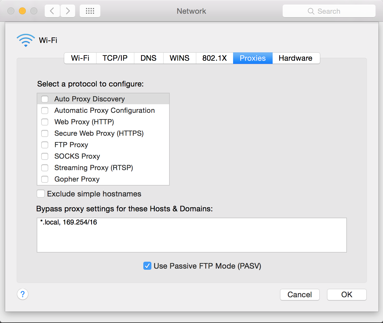Browser proxy configuration for Chrome/Safari on OS X